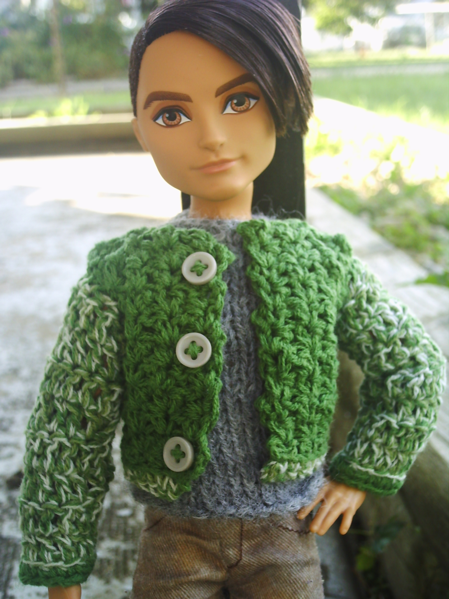 4439c1a4adb78 Crocheted green boys sweater jacket for Ever after high Boy/Ken/Monster  high size Dolls