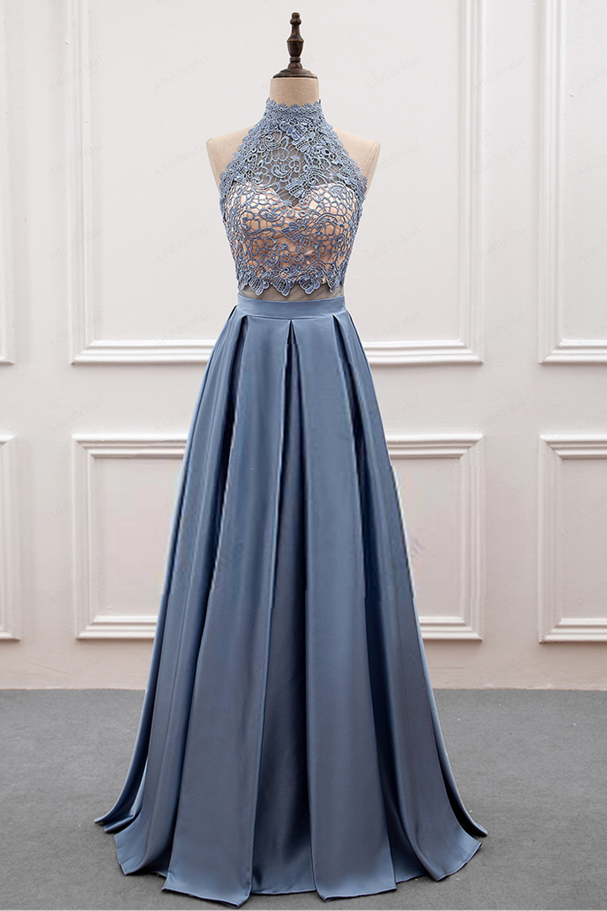 f1d367d15f8 Cheap Prom Dresses by SweetheartDress · Gray blue satin high neck ...