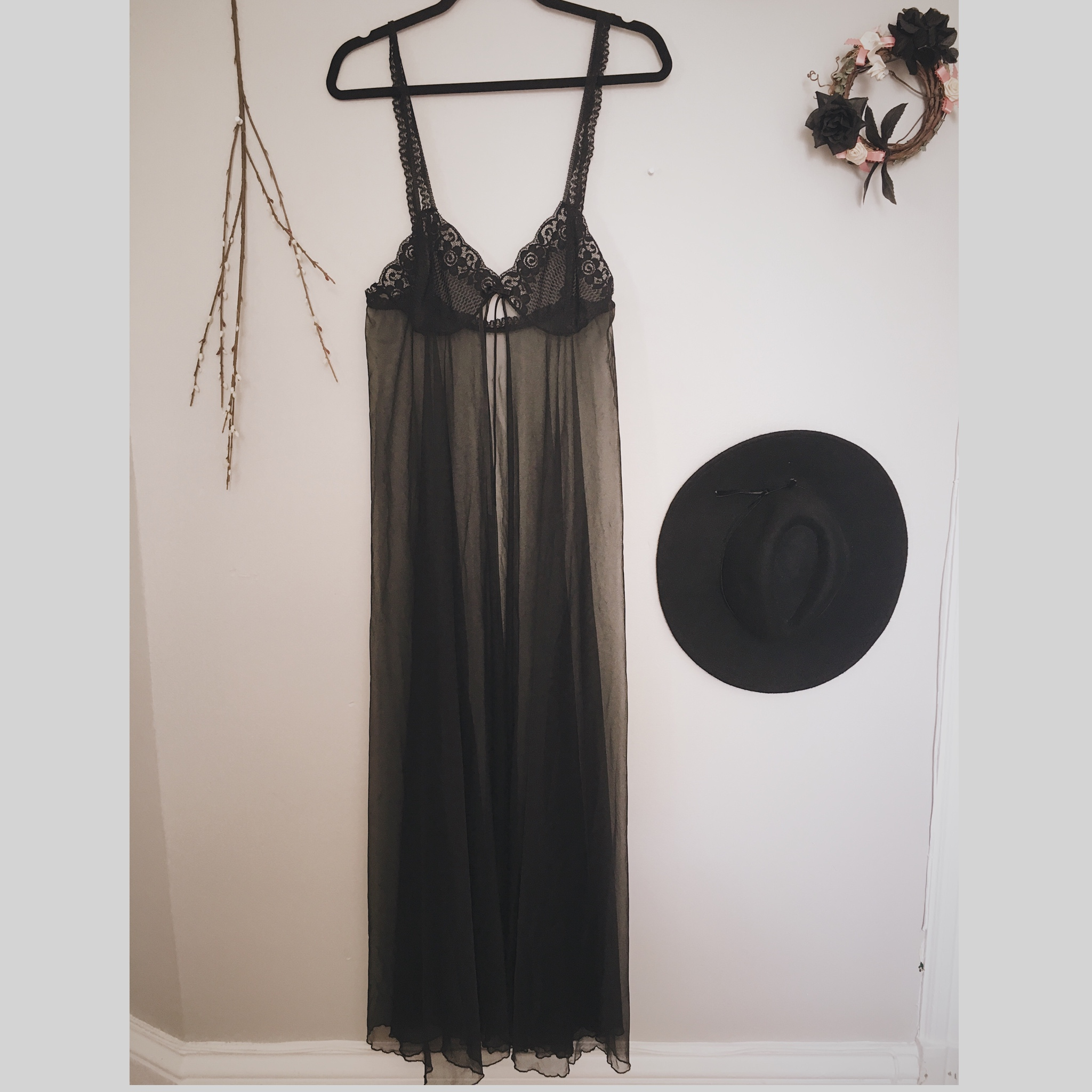 0038cbb787d3 CLAIMED - Vintage 80s Black Lace and Sheer Open Front Maxi Dressing Gown -  Thumbnail 1