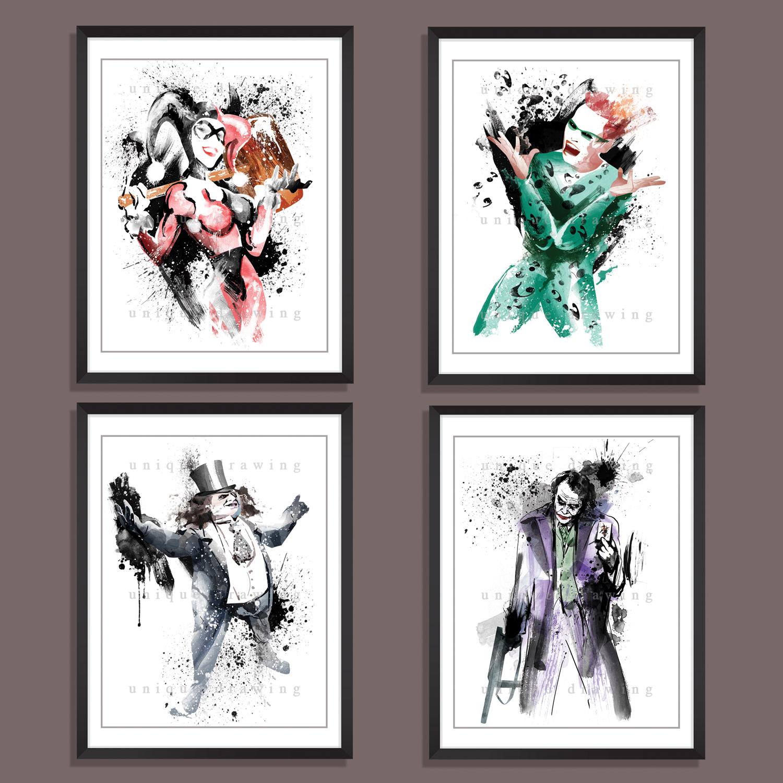 3293d41dc204 3593 harry quinn joker riddle penguin batman superhero prints poster wall  art illustration marvel comics movie