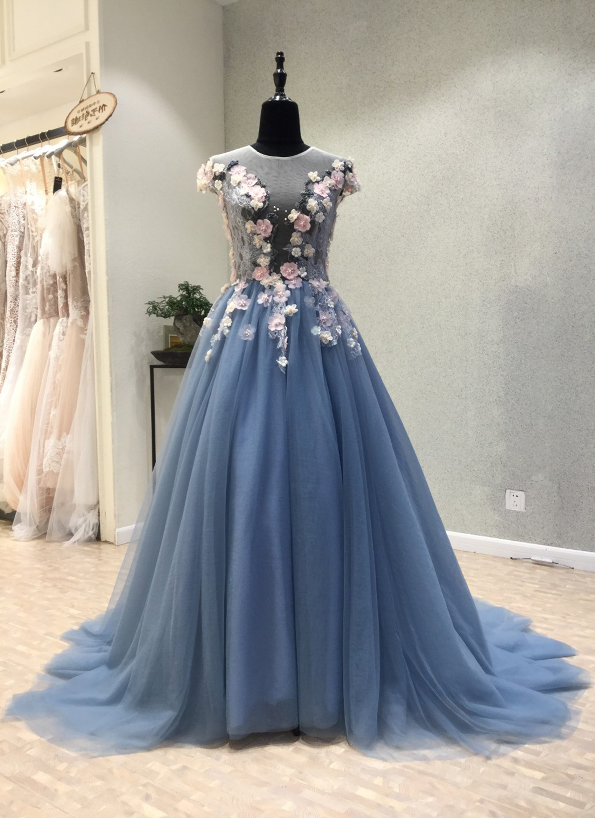 873cbc99af Cheap Prom Dresses by SweetheartDress · Blue tulle see through back ...