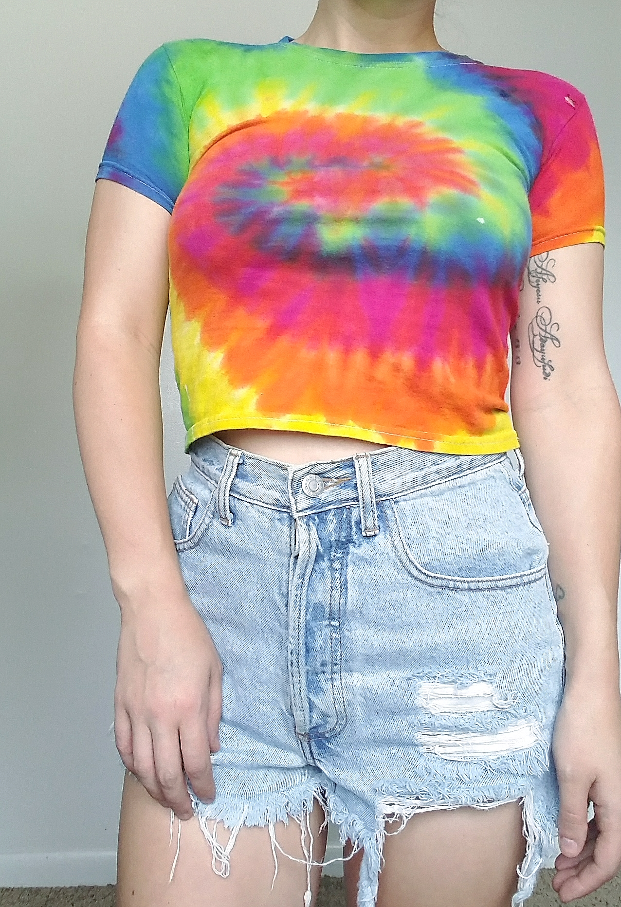 ca507c88911be 90 s Neon Tie Dye Crop Top - Vintage Rainbow Cropped Top - X Small ...