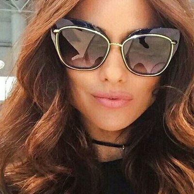 a08d87ff5a1 2017 new big frame oculos mirror lens sun glasses for women chic designer  cat eye sunglasses