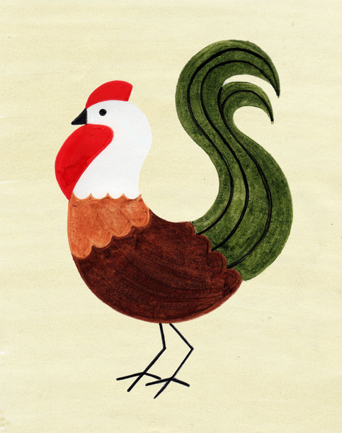 Hen Chicken Rooster Art Vintage Retro Art Print Poster