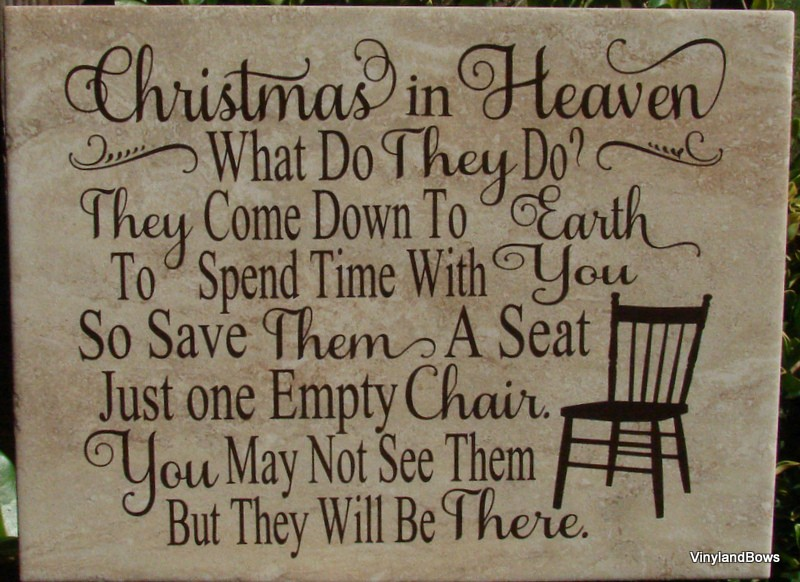 Christmas In Heaven.Christmas In Heaven Tile From Vinyl And Bows