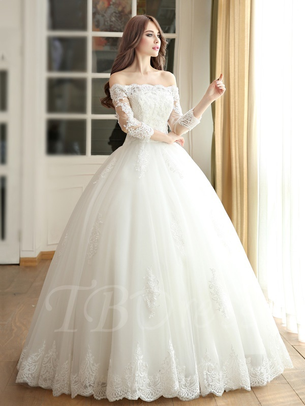 W194 Off The Shoulder Ball Gown Three Quarters Length Sleeves Lace