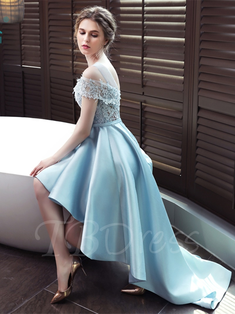 1aa1a559107 ... W302 A-Line Scoop Appliques Bowknot Sashes High Low Prom Dress -  Thumbnail 3 ...