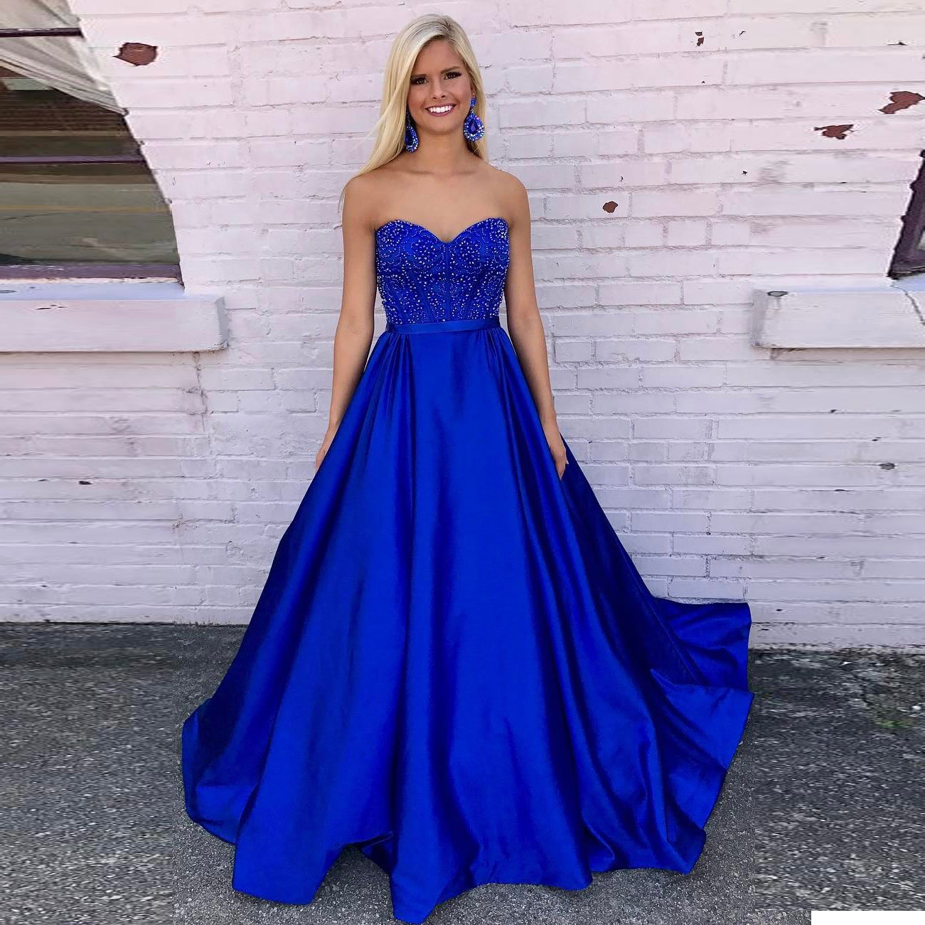 huge discount classic style of 2019 professional Elegant Sweetheart Royal Blue Prom Dress,A Line Formal Gown With Beaded  Bodice from dresschic