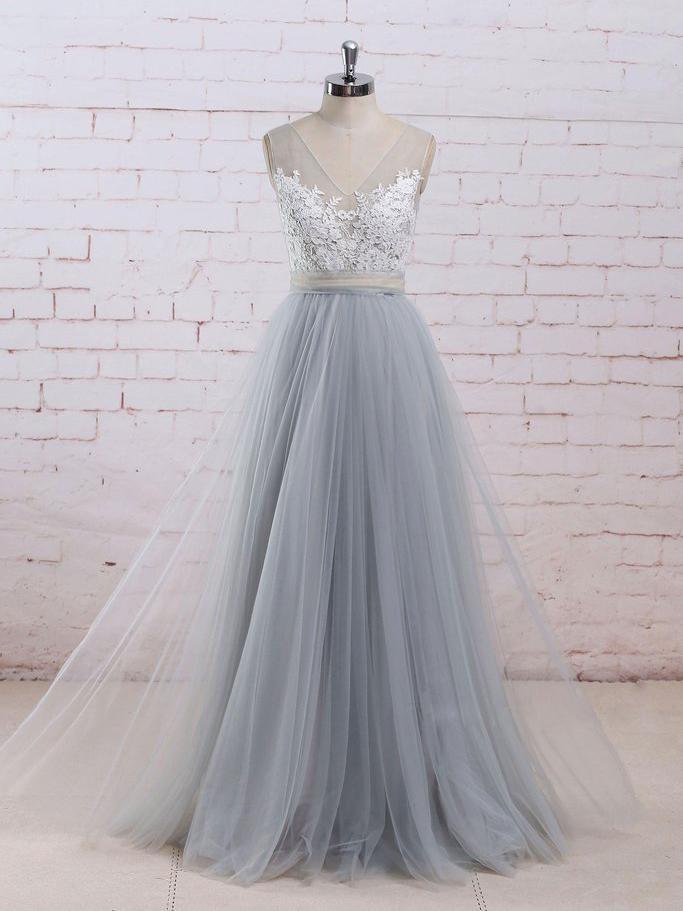 cf7b2d9270 Chic A-line V-neck Light Blue Tulle Applique Modest Long Prom Dress Bridal