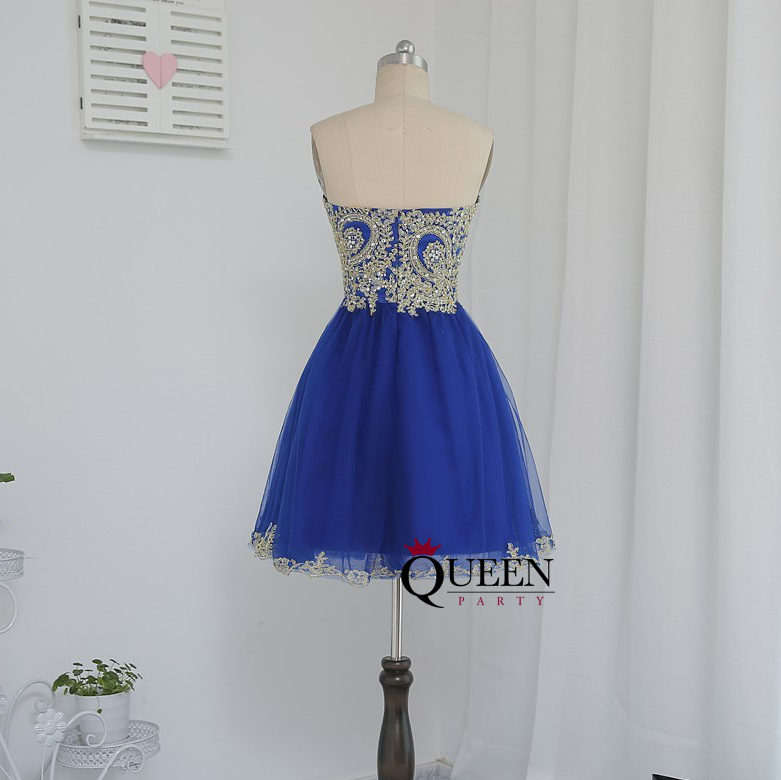 Blue Tulle And Golden Lace appliques Sweetheart Short Ball Gown ...