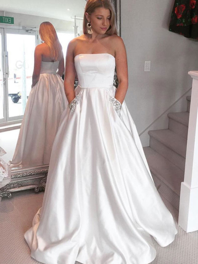 A-line Strapless Ivory Satin with Pocket Prom Dresses,Long Prom ...