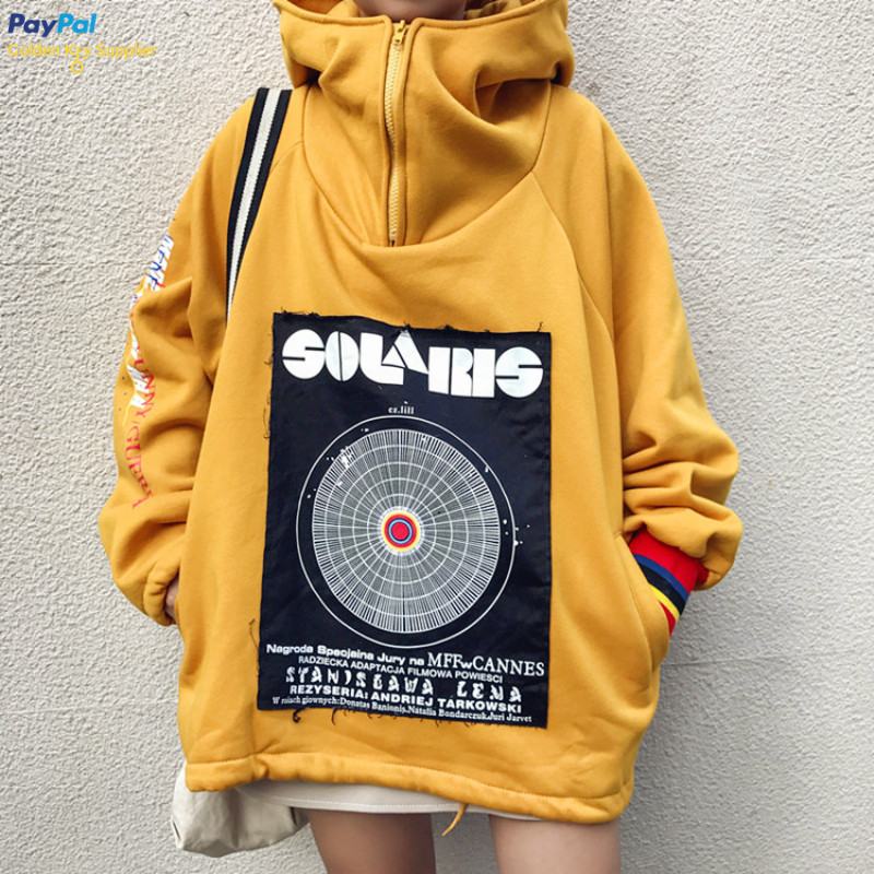 FREE DHL SHIPPING VINTAGE PATCH YELLOW HOODIE from Moooh!!