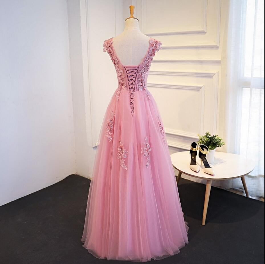22ebf78f5a Two Straps Scoop Neckline Pink Lace Evening Prom Dresses