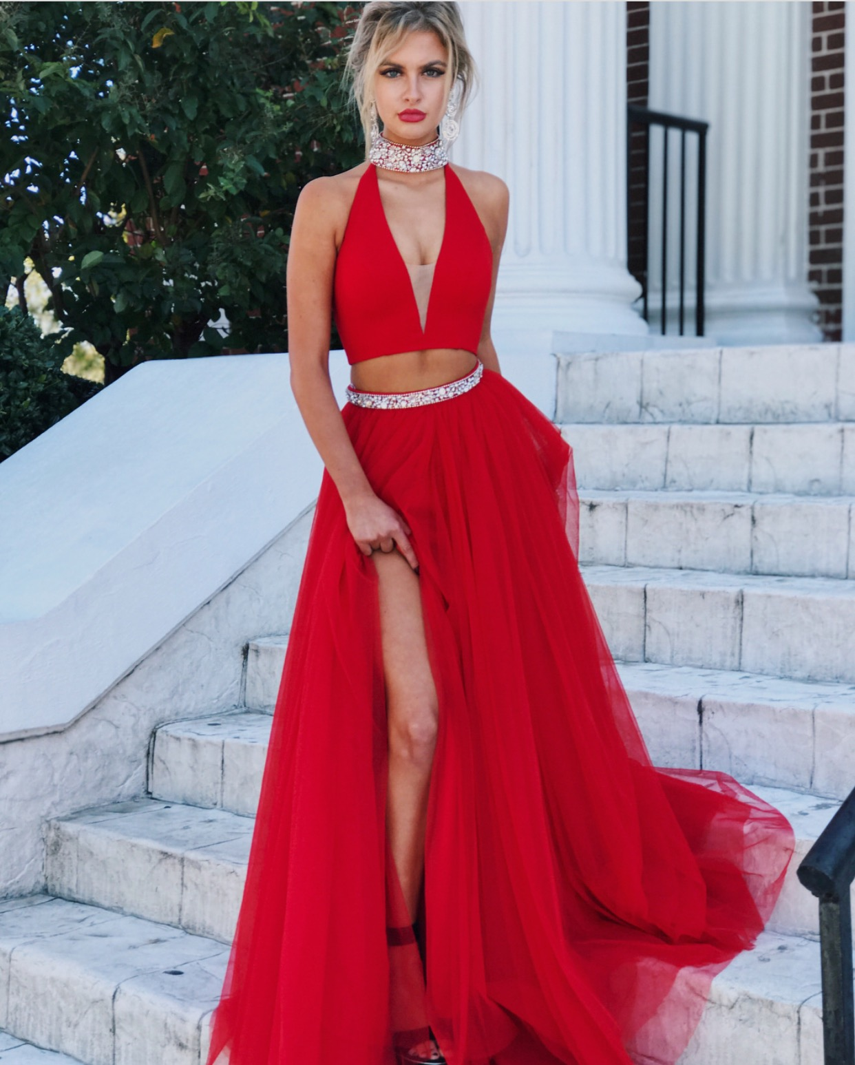 Red Evening Gowns,Two Piece Prom Dress,High Neck Prom Dress,Tulle ...
