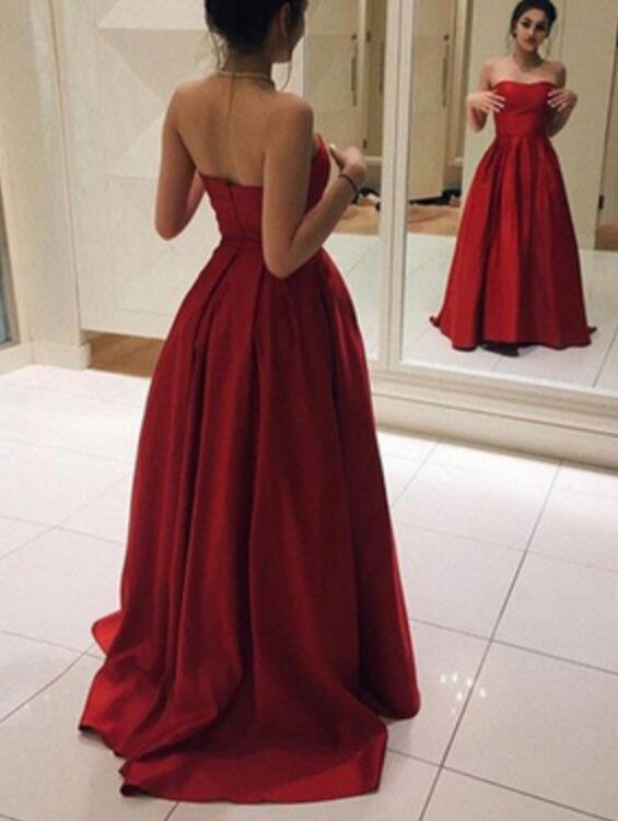 Red Simple Long Prom Dresses 2018, Satin Party Dresses, Formal ...