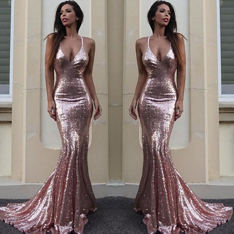 Sexy Sparkly Rose Gold Sequin Mermaid Evening Prom Dresses 2018
