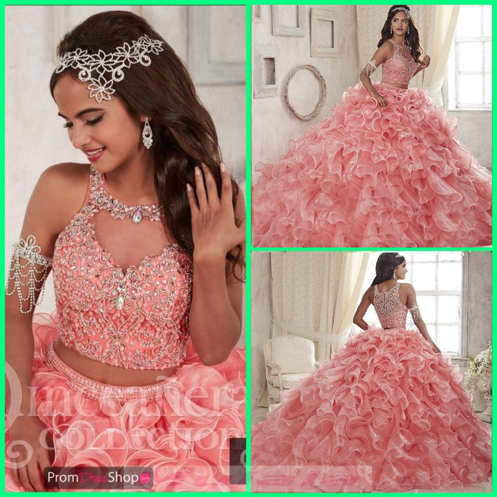 379a74633ec1 Lovely Pink Two Piece Quinceanera Dress 2019 Jewel Crystal Beaded Ball Gown  Sweet 16 Dress Puffy