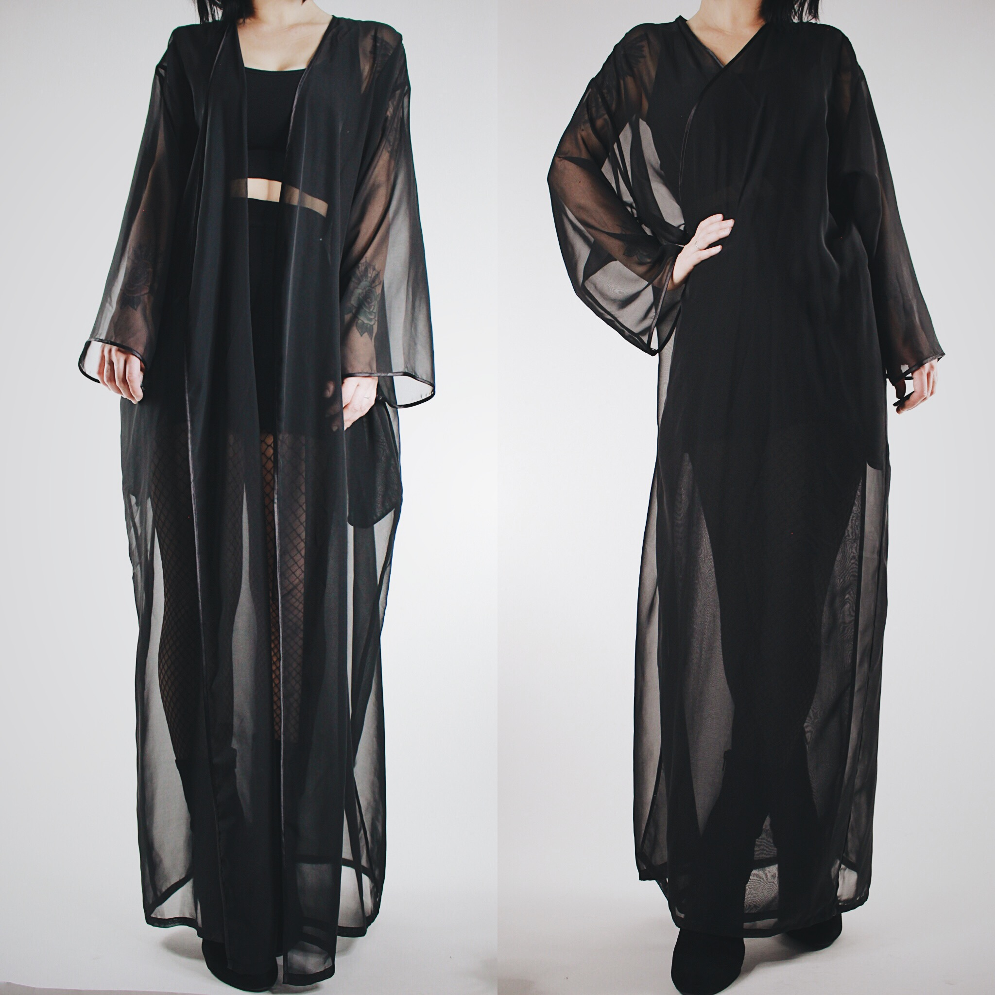 0afa88e6d32a CLAIMED @skully_mean - Vintage 80s Black Sheer Flowy Multi-Way Dressing Gown