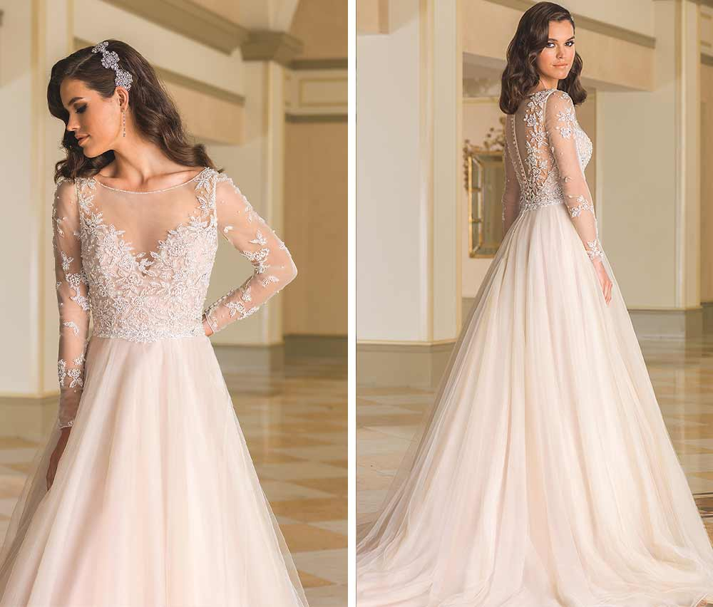 Classy Winter Wedding Dresses With Sheer Long Sleeves Bateau Neck A