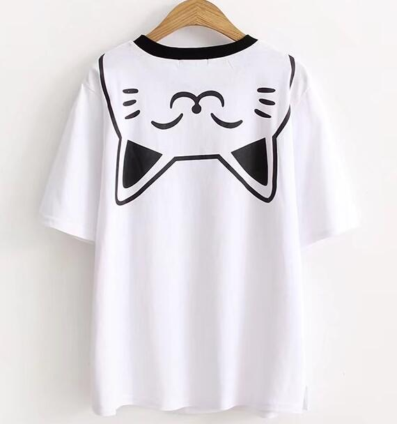 free dhl shipping harajuku cute cat white t shirt on storenvy. Black Bedroom Furniture Sets. Home Design Ideas
