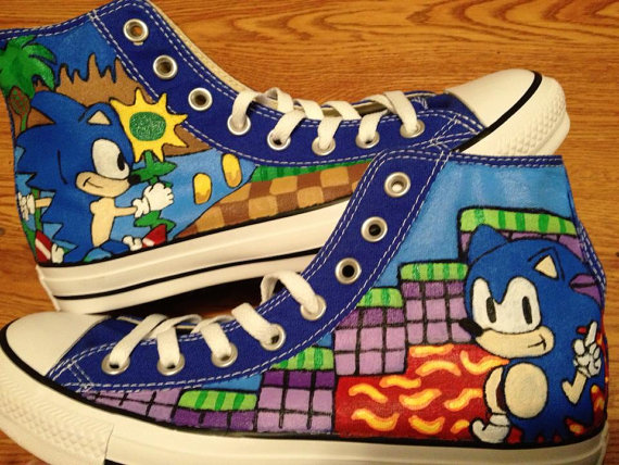 b5937deffd2 Sonic Hand Painted Converse Shoes