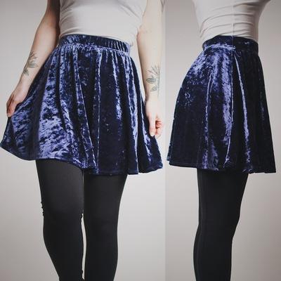 Reserved for  shebreatheschaos - midnight blue crushed velvet skater skirt  - Thumbnail 3 5567be0db