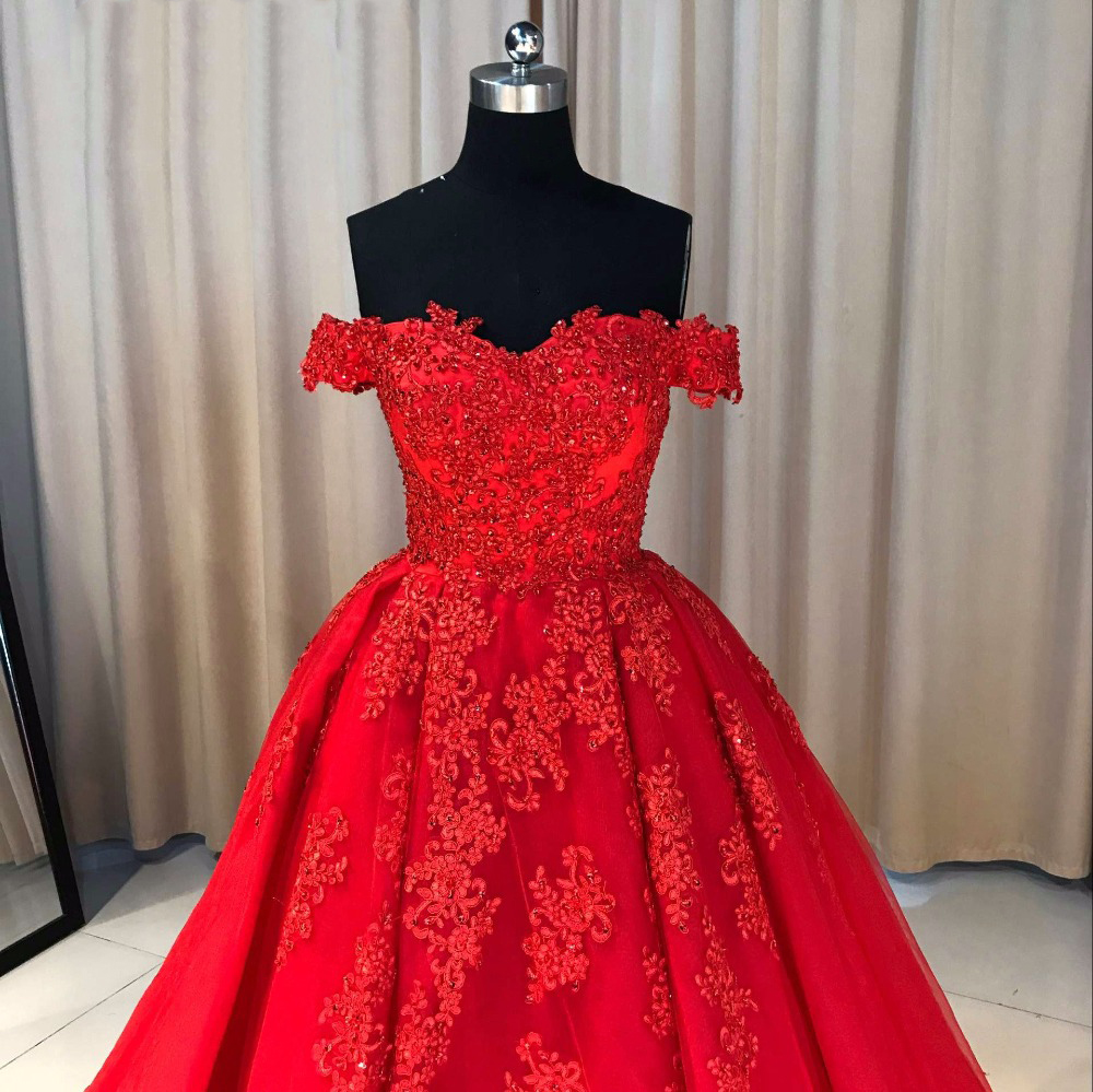 Fashion Ball Gown Off-The-Shoulder Red Long Prom Dress With ...