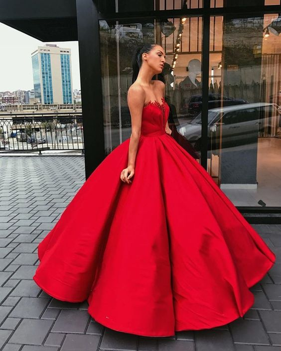 7dcf50176495 new fashions ball gown lace Prom dresses Formal Dress satin Prom Dresses  Sexy red sweetheart Evening