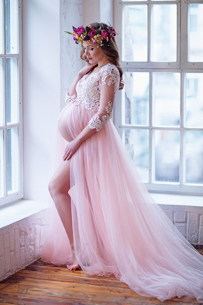 bc919081445 Romantic A-Line V-Neck Pink Tulle Long Pregnant Prom Dress with Lace  Appliques on Storenvy