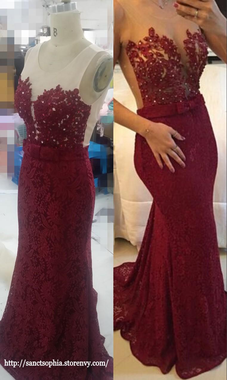 14e1adacd6 ... Mermaid Burgundy Prom Dress