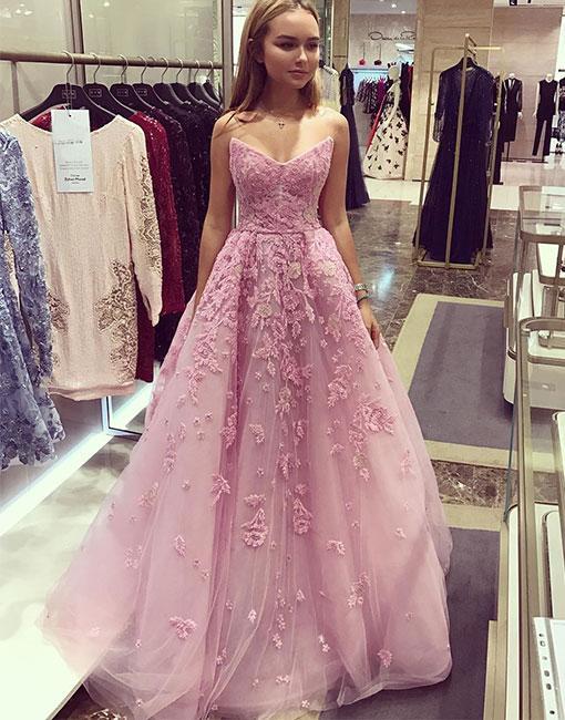 19849ec22e Strapless V-Neck Applique Long Prom Dress,Light Purple Tulle ...