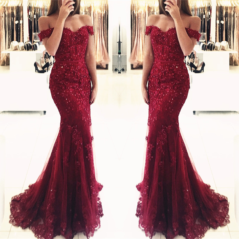 e9a8ae18d11 Glamorous Burgundy Lace Mermaid Appliques Off-the-shoulder Prom Dresses