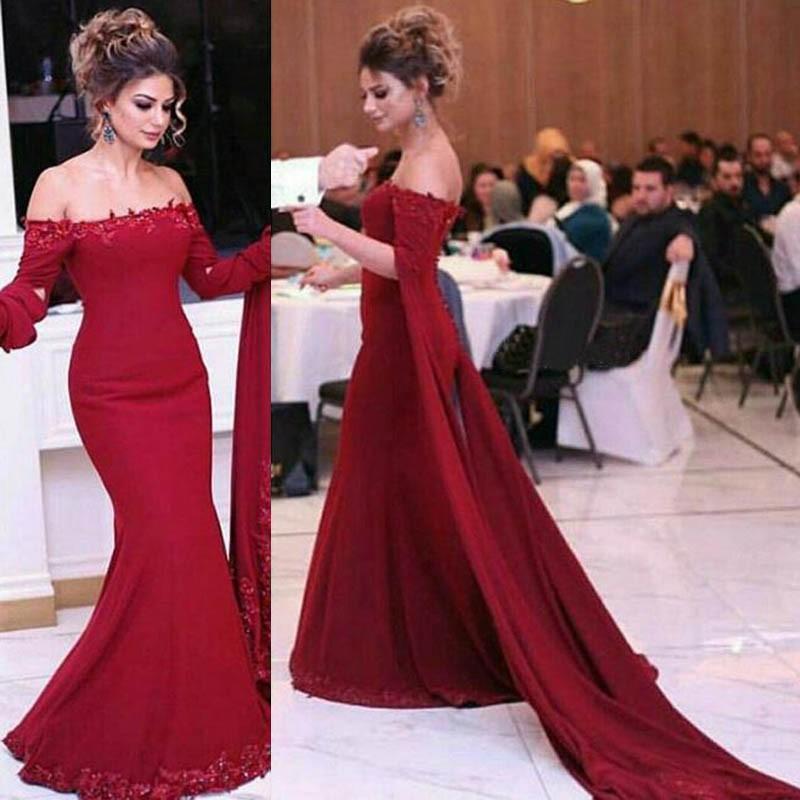 f46785778ea9b 2019 Burgundy Off-shoulder Watteau Train Lace Appliques Mermaid Prom Dresses