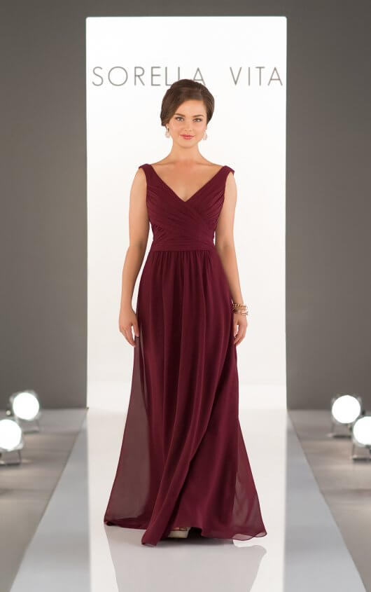 b7c09a9de07 Gorgeous V Neck Burgundy Chiffon Long Bridesmaid Dress · modsele ...