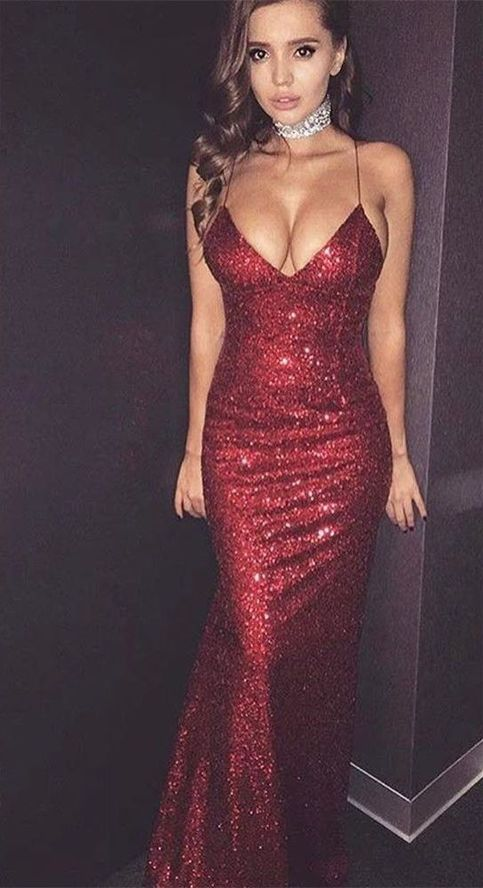 New Arrival Wine Red Spaghetti Straps Prom Dress 2018 Prom