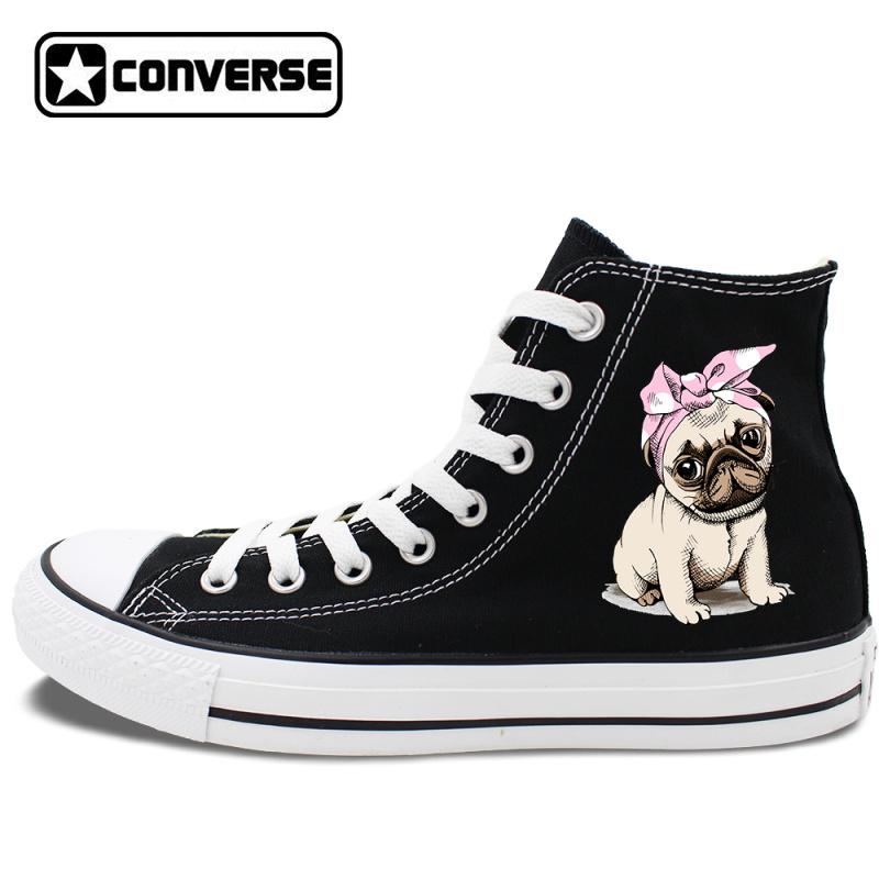 88014566299 Men Women Converse Design Pet Dog Pug Canvas Black Shoes High Top Sneakers  on Storenvy