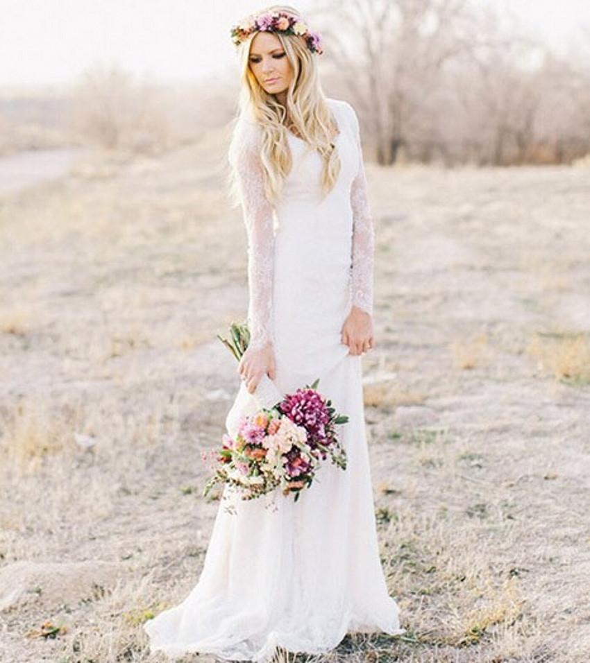 cb3b92341c3 Romantic Elegant Sheer White Tulle Sheath Vintage Lace Long Sleeve Wedding  Dresses Wedding Gowns