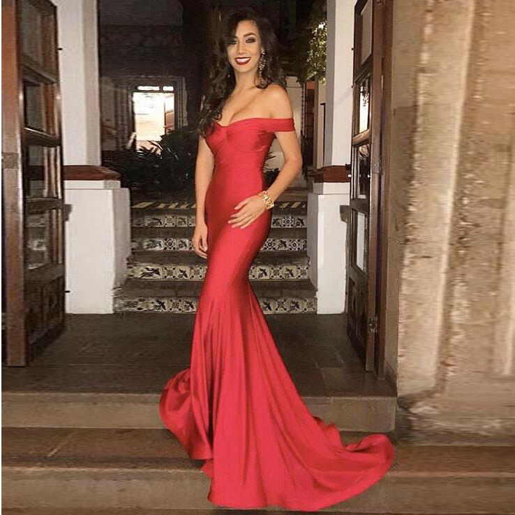 612e5cec766 2018 Off The Shoulder Prom Dress Red Formal Evening Gown Mermaid ...