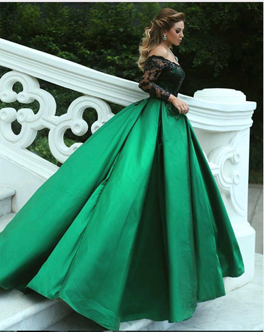Long Sleeve Ball Gown Prom Dress with Lace, Formal Evening Dress ...