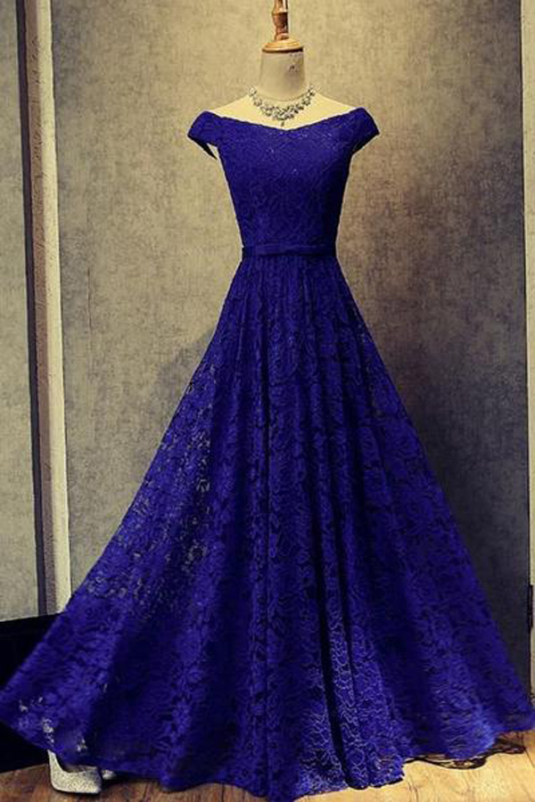 b05d2fd9a53 A Line Royal Blue Lace Prom Dress