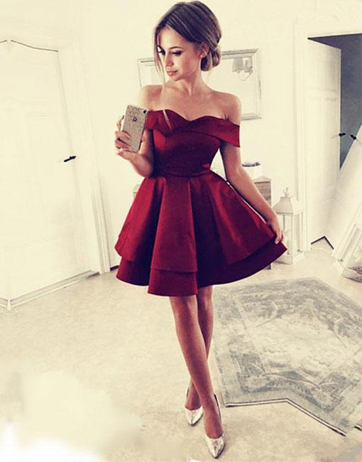 916221253 Simple Burgundy Short Prom Dress,Off the Shoulder Ruffled ...