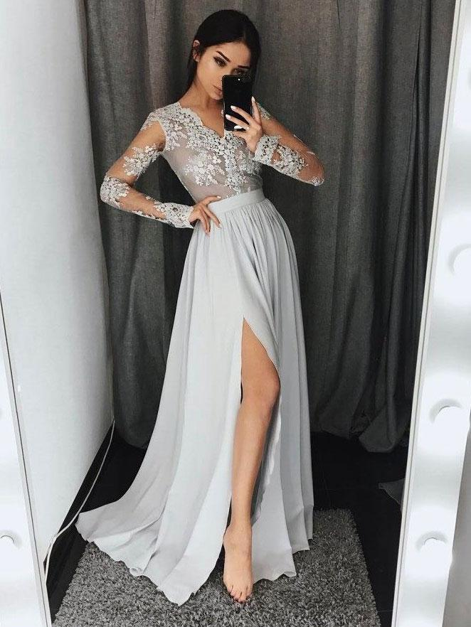 a5a0190cc32 Long Sleeve Gray Lace Fashion Evening Prom Dresses
