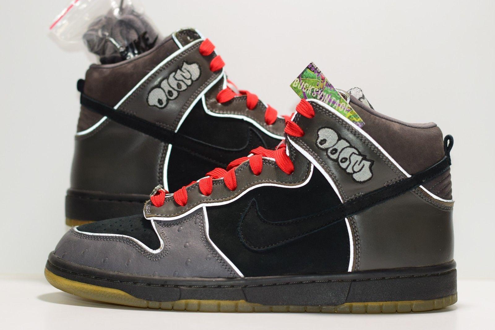cheaper 6998d dc69d Size 9.5 | 2007 Nike Dunk High Pro SB MF Doom #313171-004  Black/Black/Midnight Fog from BucksVintage