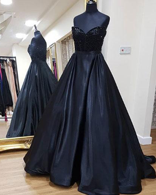 Cute black satin sweetheart neck long sequins evening dress, long ...