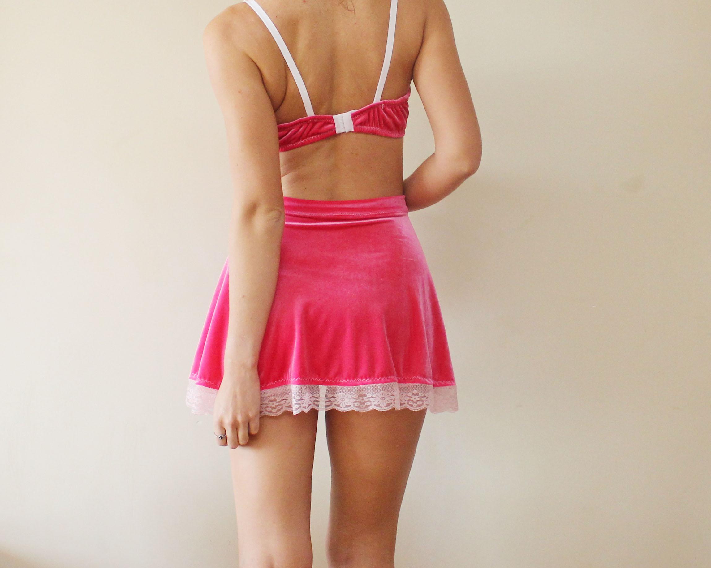 b0f73bddf8 CUPCAKE   Hot pink velvet lingerie set bralette and panties erotic ...