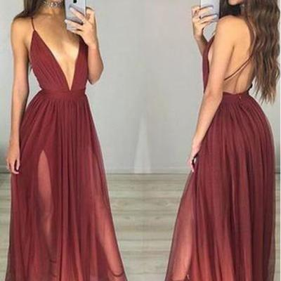 120727aa71 Sexy backless deep v neckline side slit chiffon long evening prom dresses