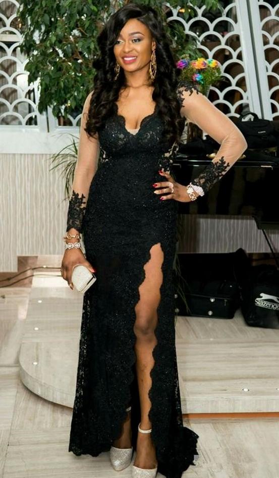 Long Sleeve Black Lace Mermaid Evening Dress Split Slit Formal Gown
