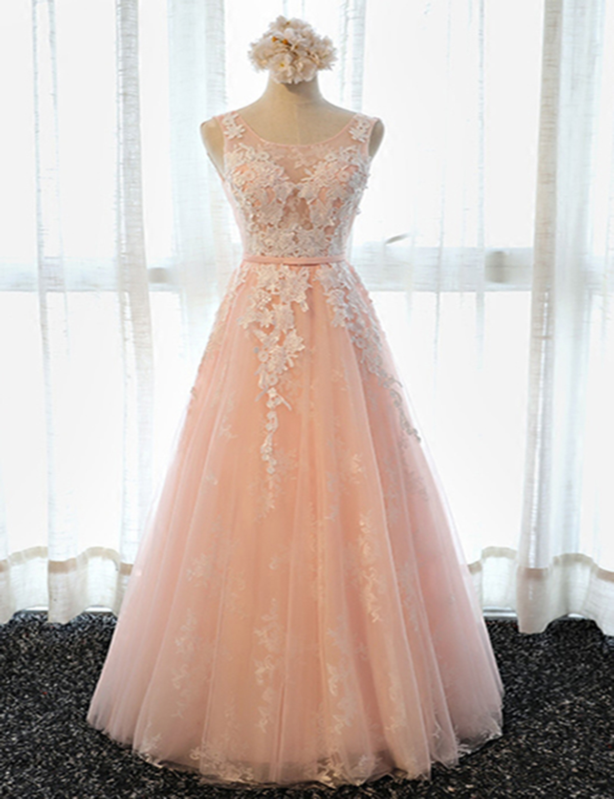 f4602087506 Blush pink tulle scoop neck long halter winter formal prom dress with white  lace appliques