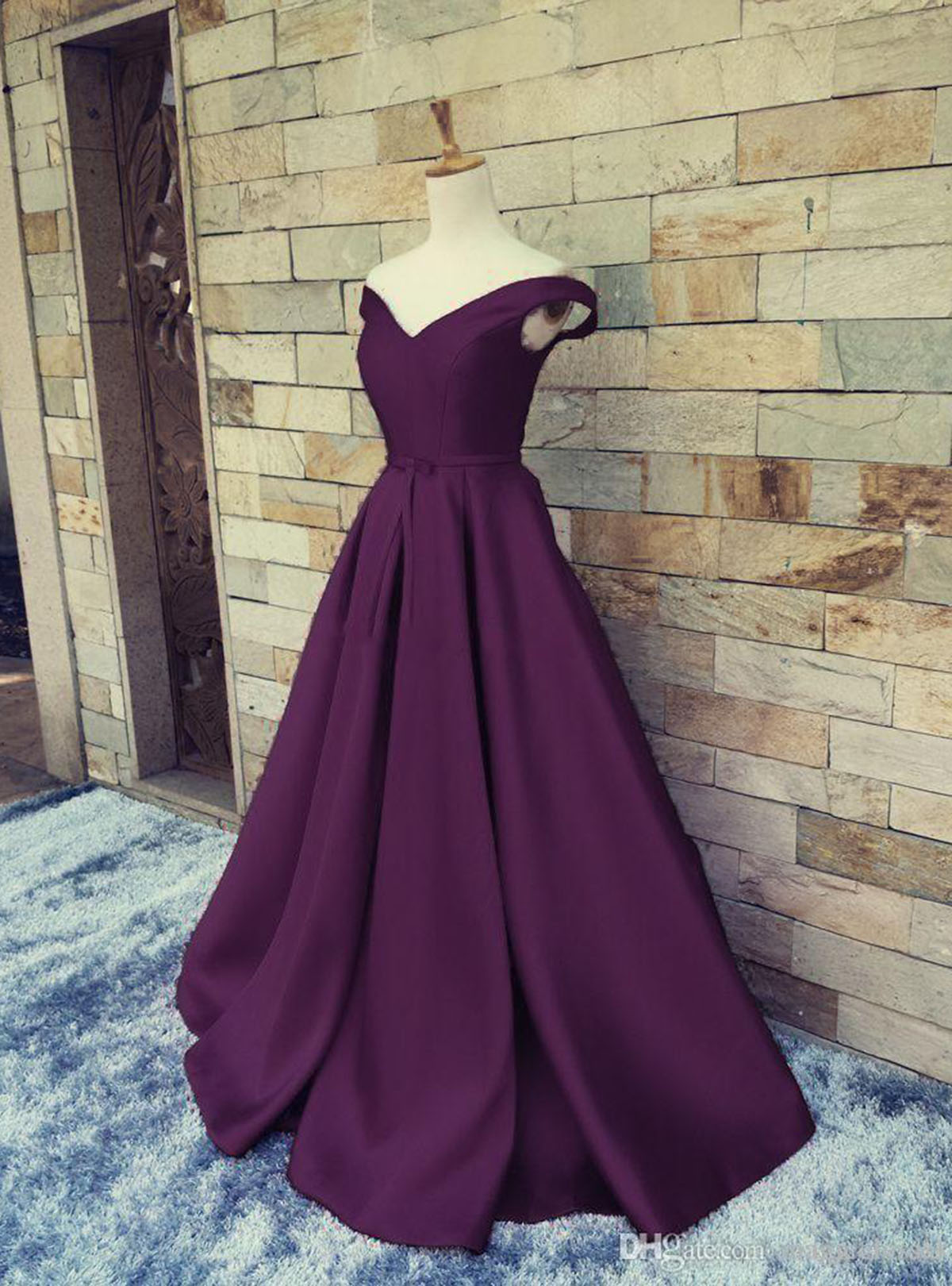 f5a8bb5de2e9 2018 deep purple satin off shoulder V neck A-line sweet 16 prom dresses
