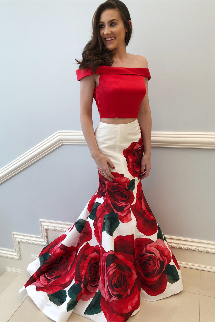 Elegant Two Piece Off Shoulder Red Floral Mermaid Long Prom Dress